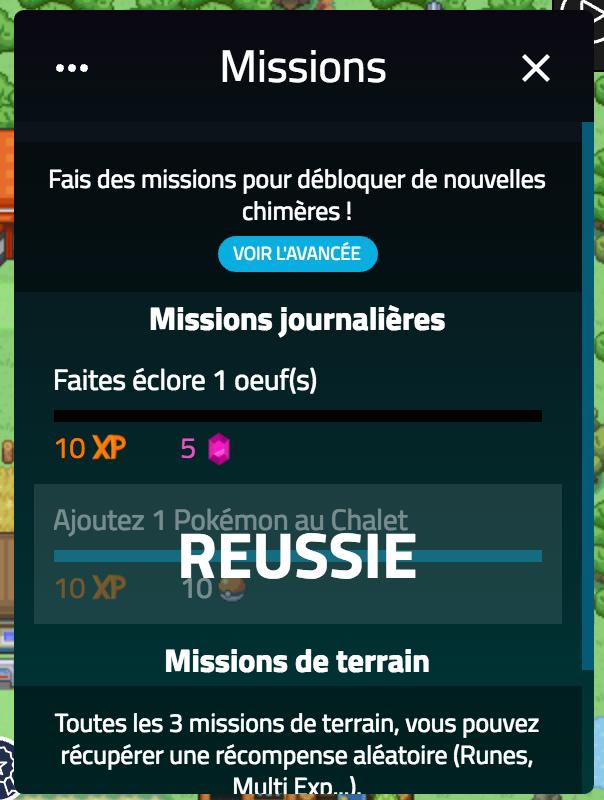 Interface des missions